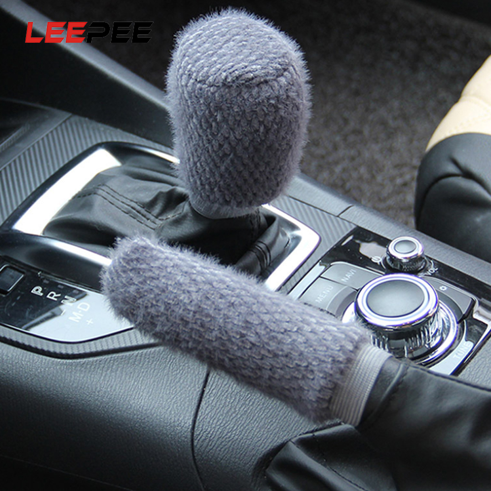 LEEPEE 2pcs/set Car Handbrake Covers Sleeve Handbrake Grips Winter Warm Hand Brake Gear Shift Knob Cover Car-styling Universal
