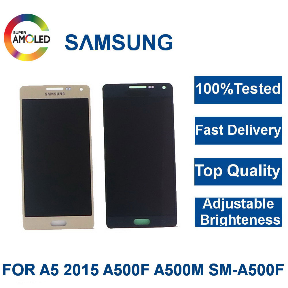 100%Tested Super AMOLED <font><b>LCD</b></font> For <font><b>Samsung</b></font> Galaxy A5 2015 <font><b>A500</b></font> A500F A500FU A500H A500M Phone <font><b>LCD</b></font> Display Touch Screen Digitizer image