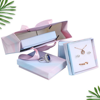 1PC Ties-Dye Paper Box Jewelry Set Gift Box Ring Necklace Bracelets Earring Gift Packaging Boxes With Sponge Inside Square image