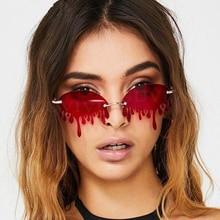 2020 Newest Rimless Sunglasses Women Brand Fashion Teardrop Blood Sun Glasses Fo