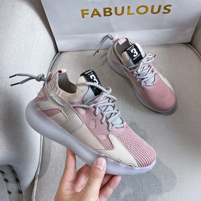 Zapatillas de deporte de mujer vulcanizados zapatos de malla transpirable moda Zapatos casuales de las mujeres zapatillas de deporte sólido de señoras zapatos de nuevo 6