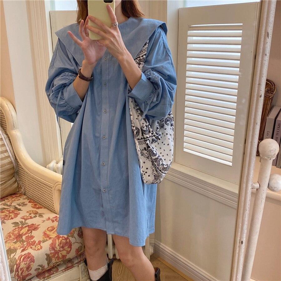 Hb4570876bc584b4484a136fdfabe3423u - Autumn Korean Big Lapel Collar Long Sleeves Drawstrings Solid Mini Dress