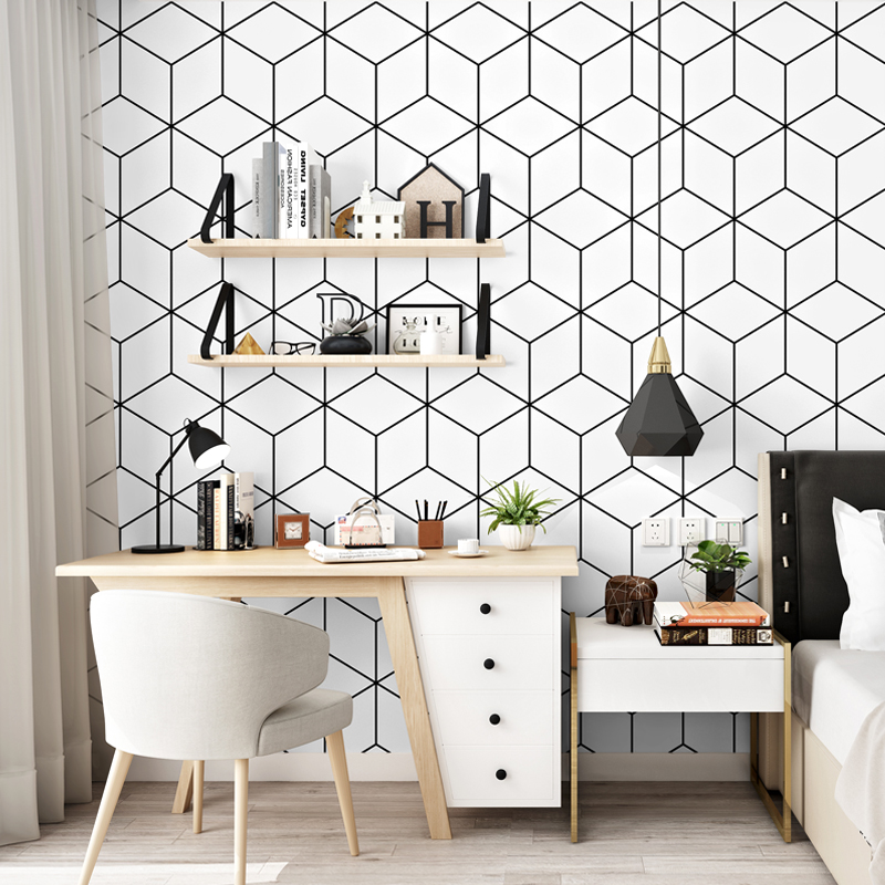 Nordic Black White Lattice Wall Papers Home Decor Modern Geometric Wallpaper Living Room Bedroom Decoration PVC