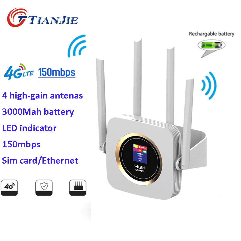 TIANJIE 4G LTE/FDD CPE Wifi Router With 3000mah Battery Wireless Router With Sim Card Slot/LAN/WAN Port LCD Display Wifi Hotspot