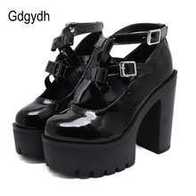 Gdgydh Fashion Buckle Punk Black Mary Janes Square Pumps Chunky Heel Platform Pumps Women Gothic Shoes Patent Leather Spring New mixed color polka dot mesh upper girl nude shoes square toe black suede buckle mary janes shoes middle chunky heel shoes women