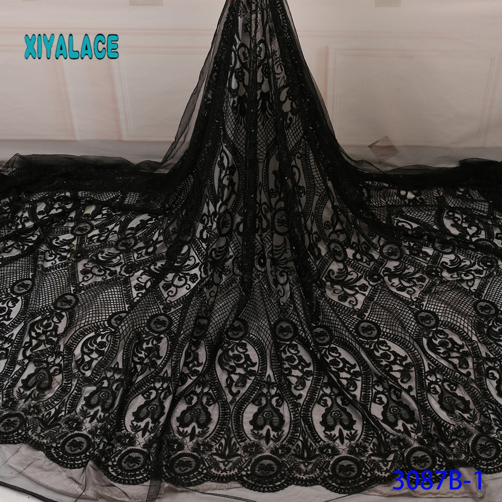 Black/Green African Lace Fabric 2019 High Quality Stones With Embroidery Nigerian Lace Fabric For Women French Mesh Lace Fabric