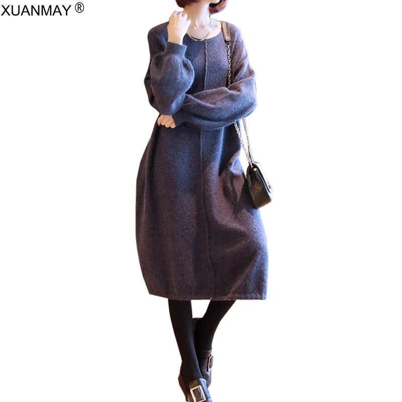 2020 Spring Women Long Style Sweater Dress Loose Big Stretch Knit Pullover Sweater Black Knee-length Style Thick Sweater Dress