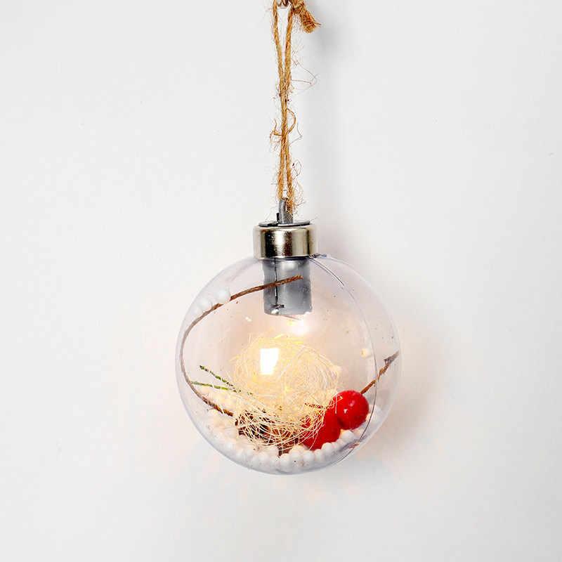 3 шт. прозрачная Елочная игрушка со светодиодной лампой Рождественская елка висячие украшения Рождественский светящийся кулон подвесной Декор шар новейший