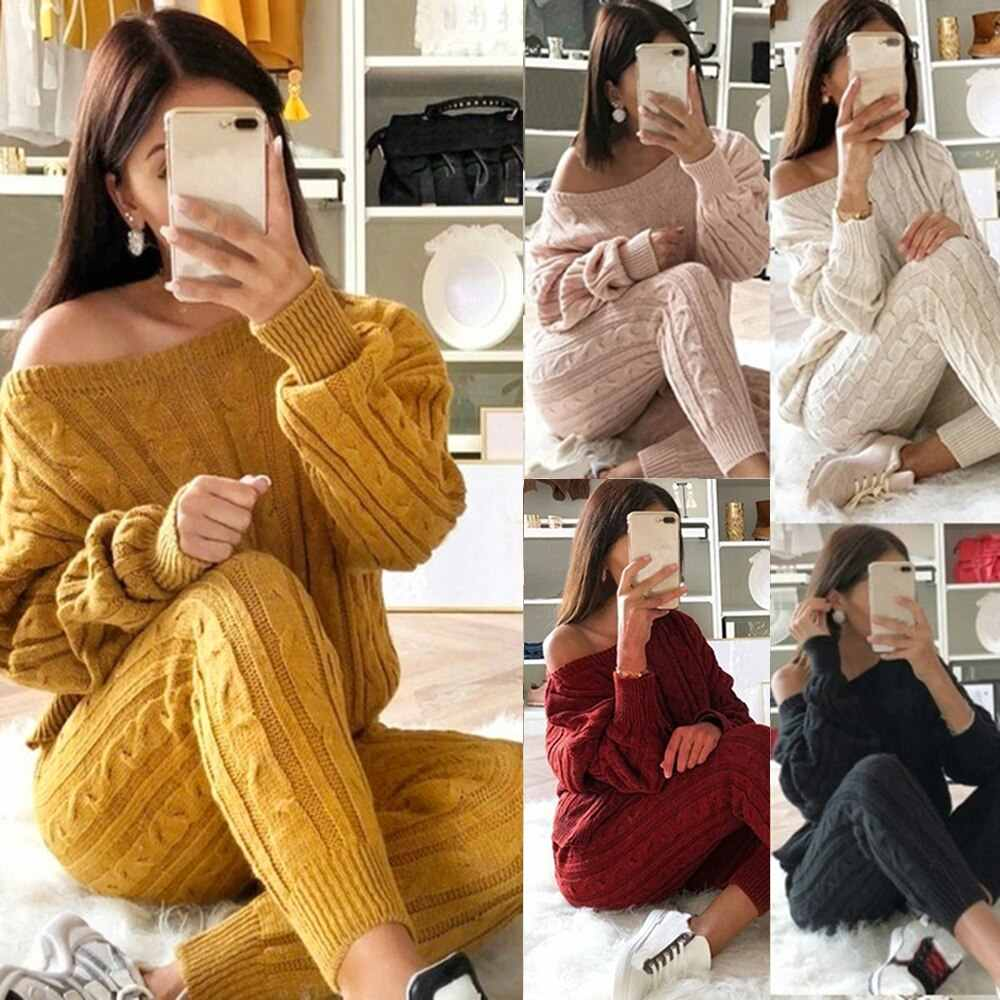 2019 Tracksuit Women Casual Knit Two Piece Set Autumn Gym Clothing Long Sleeve Sweater Pullovers Pants Female Running Jogger Set