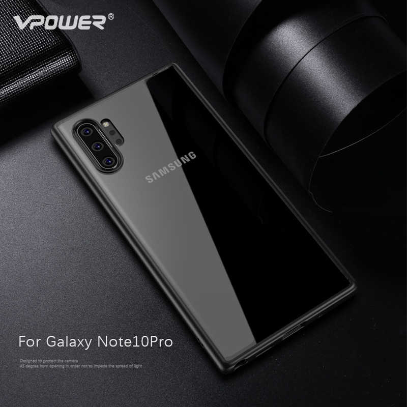 Untuk Samsung GALAXY Catatan 10 Kasus Note10 Plus Cover Vpower Ultra Slim Clear Plastik + Silikon Hibrida Phone Case untuk galaxy Note X