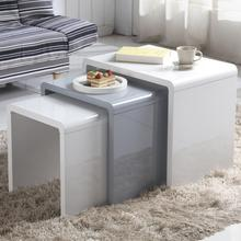 GOLDFAN 3 tables Morden High Gloss Coffee Table Set Living Room Bedside Tables,Multi-functional Side Table, White