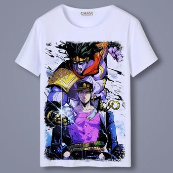 Casual T Shirt Men Anime JoJo's Bizarre Adventure Kujo Jotaro O-Neck Unisex Cosplay T-shirts Short Sleeve Tops Tee Shirts
