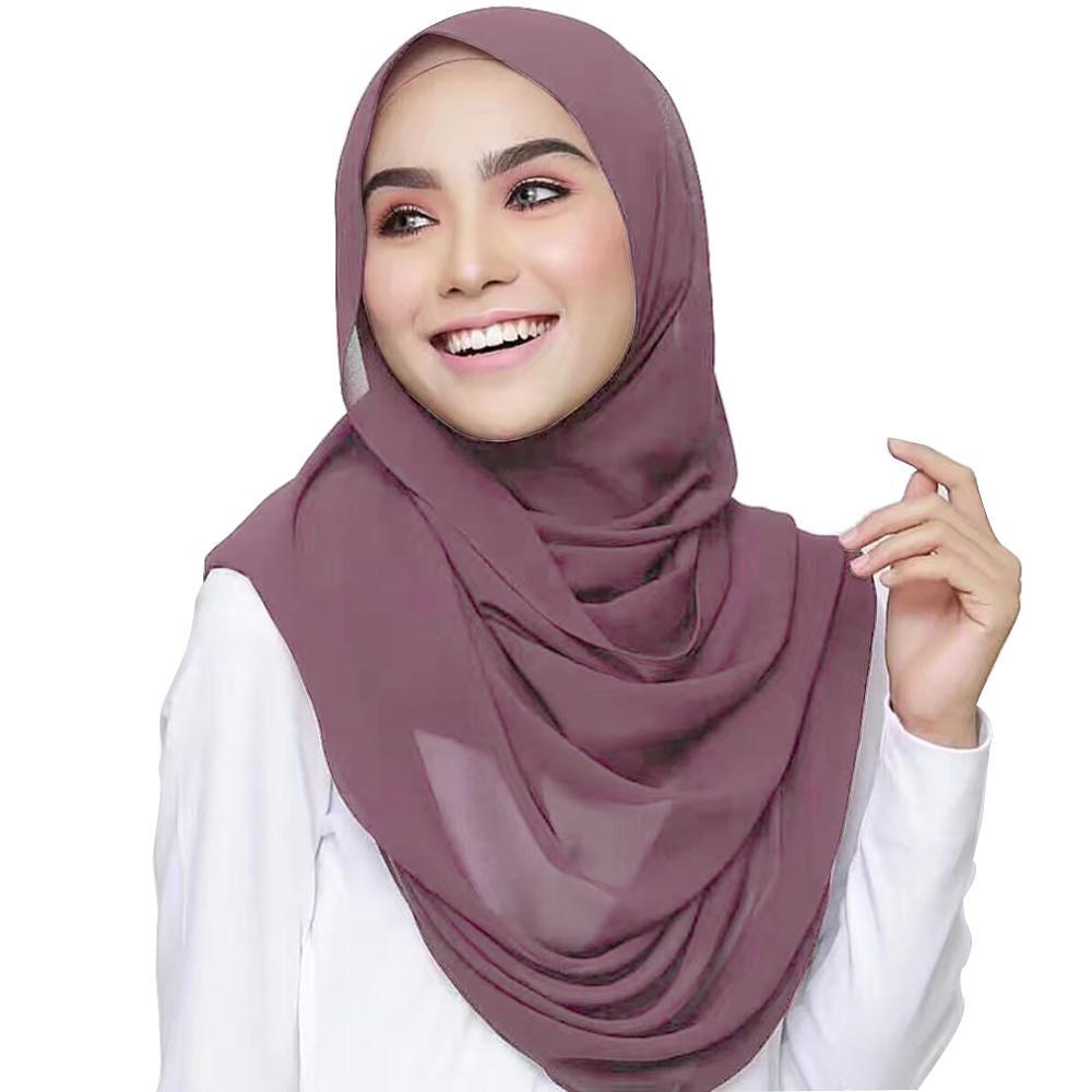 Women Plain Bubble Chiffon Hijab Scarf Wrap Solid Color Muslim Headscarf Scarves Soft Long Shawl Hijabs 78 Color