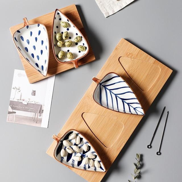 Creative Leaf Shape Seasoning Bowl Ceramic Multipurpose Small Plates Appetizers Snack Dish Sauce Kitchen Dishes Sushi Cake Tray 3