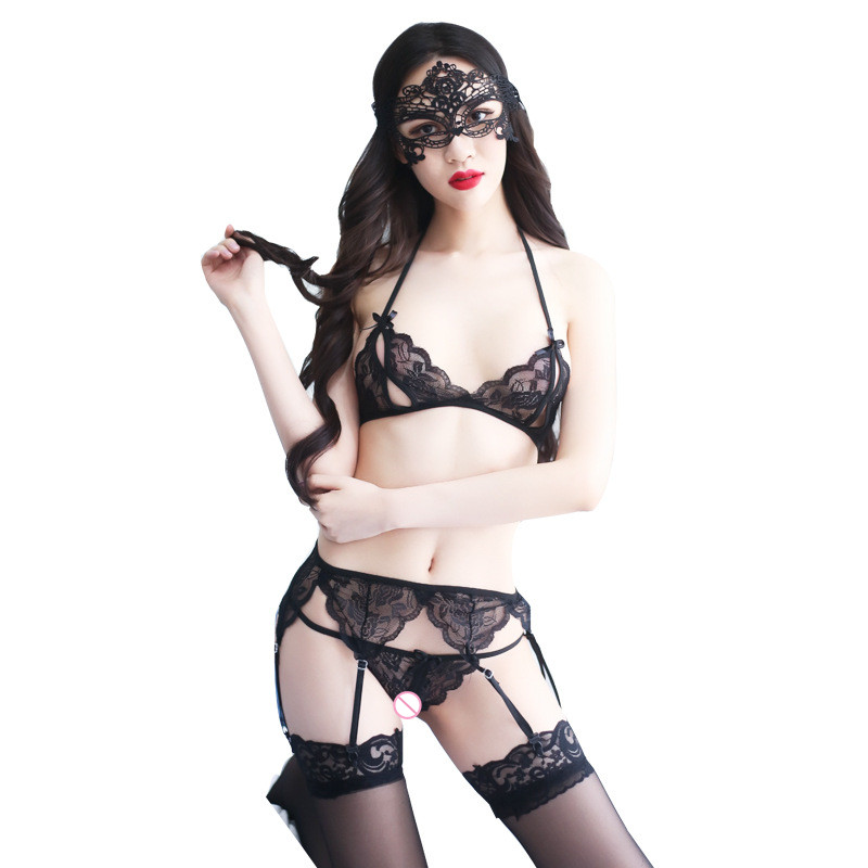 Sexy Hollow Bra+Floral Garter Belt Suspenders+ Underwear+Fishnet Lace Floral Top Thigh High Stocking+Eye Mask