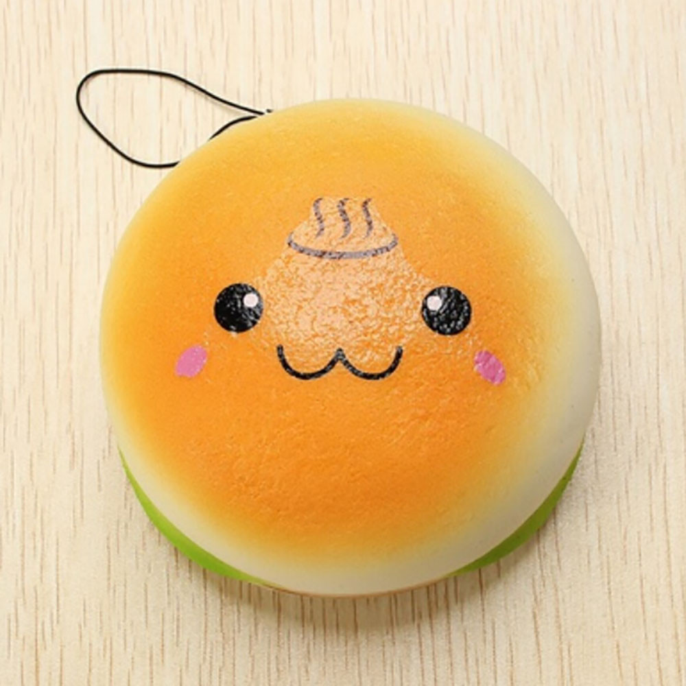 10cm Squishy Hamburger Toy Lovely Bread Bun Cellphone Bag Strap Pendant Charms