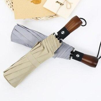 Paraguas plegable automático de alta calidad para hombre, con mango de madera maciza, paraguas Retro plegable, regalos para hombre