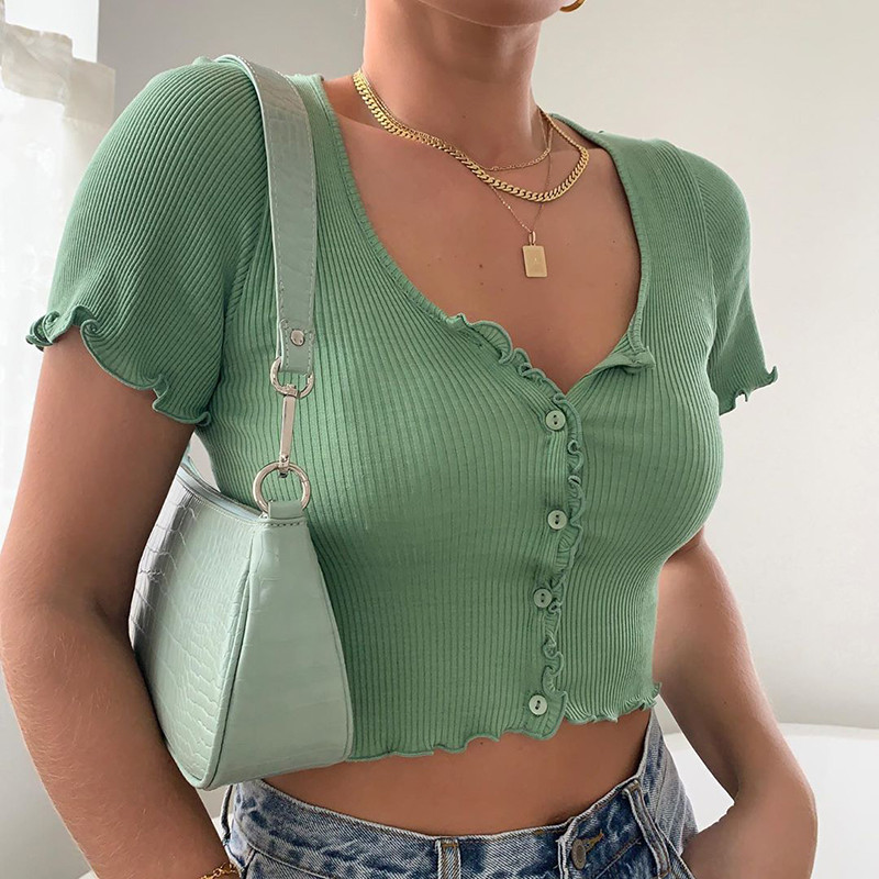 В рубчик короткий рукав футболка для женщин оборки укороченный топ сексуальный укороченный топы однотонный цвет пуговица футболка мода трикотаж Harajuku топы