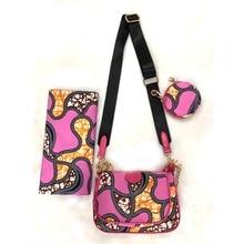 цена на Ankara Shoulderbag+ 1 Round Clutch Bag+6 Yard Pink Guaranteed Real Wax African Wax Prints Fabric For Woman DFB-11