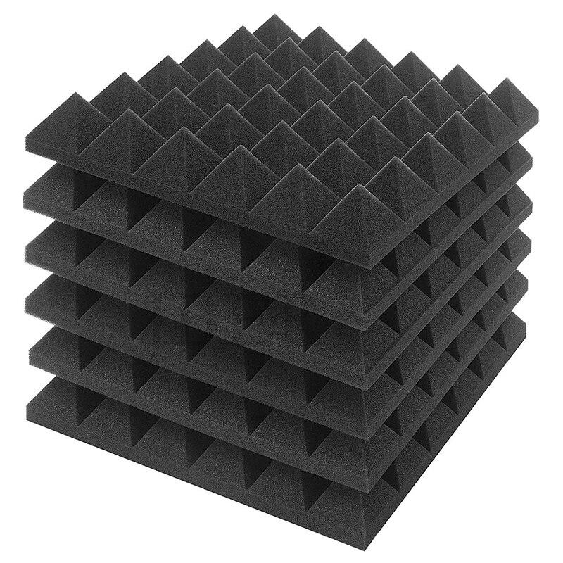 6 Piece Charcoal Acoustic Panel Studio Foam Wedge Fireproof Insulation Liner Siding 30 X 30 X 5cm (Black)