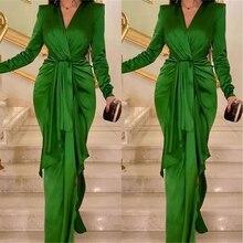 فستان اخضر انيق من الساتان