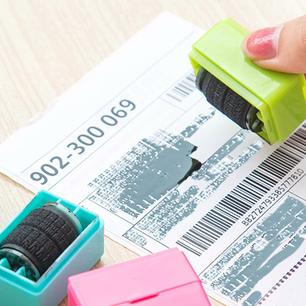 1Pcs Guard Your ID Self Inking Roller Stamp SelfInking Stamp Messy Code Security Office Confidentiality Confidential Seal