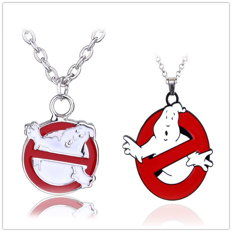 Movie GHOSTBUSTERS LOGO Pendant Necklace 80s eighties kitsch vintage ghost bill murray Christmas gift Jewelry image