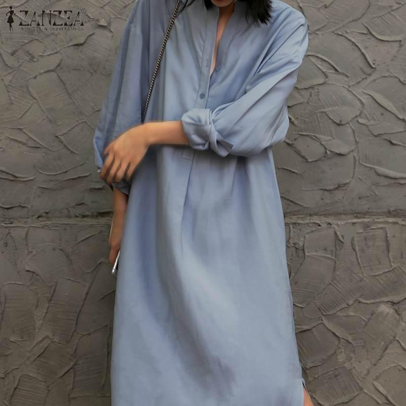 2020 Fashion Women Knee Length Dress Casual Long Shirts Vestidos ZANZEA Ladies Long Sleeve Solid Sundress Beach Party Robe 5XL 7