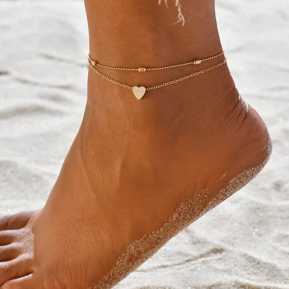 Summer Beach New Peach Heart Beads Chain Anklets Women Trendy Double Layered Gold Silver Color Creative Ankle Bracelets Jewelry