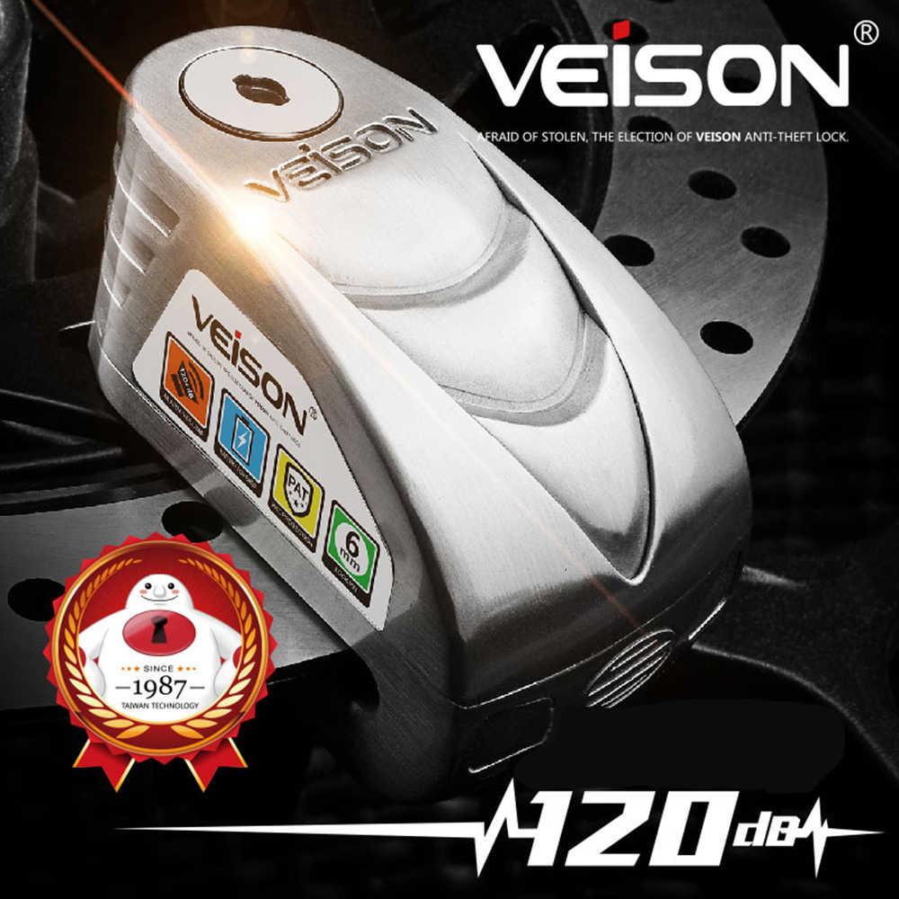 VEISON 120dB Keselamatan Motor Kunci Alarm Anti Pencurian Sepeda Gembok Disc Kunci Listrik Peringatan Keamanan Rem Skuter Kunci