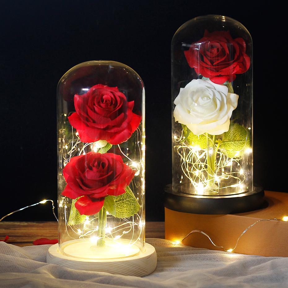 Светодиодный светильник «Вечный цветок» с двойной розой в куполе красота и чудовище Роза в колбе День Святого Валентина День рождения Рожд...