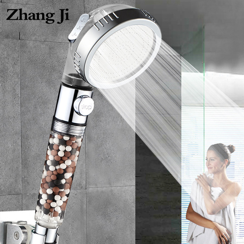 ZhangJi אמבטיה 3-פונקצית ספא מקלחת ראש עם מתג on/off כפתור גבוהה לחץ אניון מסנן אמבטיה ראש מים חיסכון מקלחת