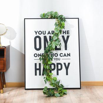 Eucalyptus Vine Green Leaf sztuczna roślina dekoracje ślubne w kształcie kwiatów 2 metry jedwabny liść wyposażenie wnętrz do dekoracji wnętrz tanie i dobre opinie CN (pochodzenie) 1pcs Wiszące Jedwabiu