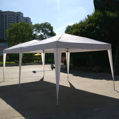 3 x 6m Four Windows Practical Waterproof Folding Tent Black - 2
