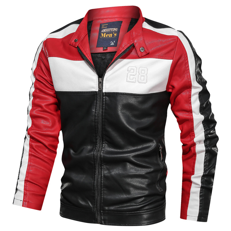 NEGIZBER Men's Leather Casual Fashion Long Sleeve Stand Collar Leather Joker Contrast Leather Men