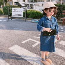New autumn children clothing long-sleeved personality long section denim dress for girls