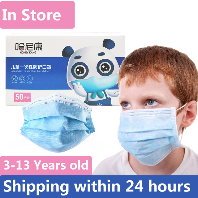 50pcs 3--13 Years Old Children's 3 Layers Face Mask Non-woven Anti-bacterial Anti-flu Disposable Cartoon Dog Printed Mask