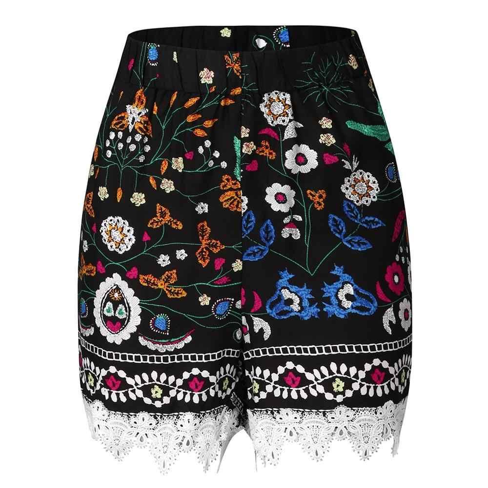 2019 Summer Shorts Women Short Pant Girl Casual Print Patchwork Shorts Fitness Shorts self-cultivation sport shorts yoga shorts
