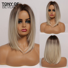 Brown to Light Blonde Ombre Hair Medium Straight Layered Bob Synthetic Wigs Middle Part For Women Heat Resistant Cosplay Wigs cheap TONY OF BEVERLY High Temperature Fiber Daily Use CN(Origin) 1 Piece Only Average Size Medium Straight Wigs