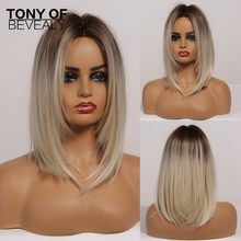 Brown to Light Blonde Ombre Hair Medium Straight Layered Bob Synthetic Wigs Middle Part For Women Heat Resistant Cosplay Wigs