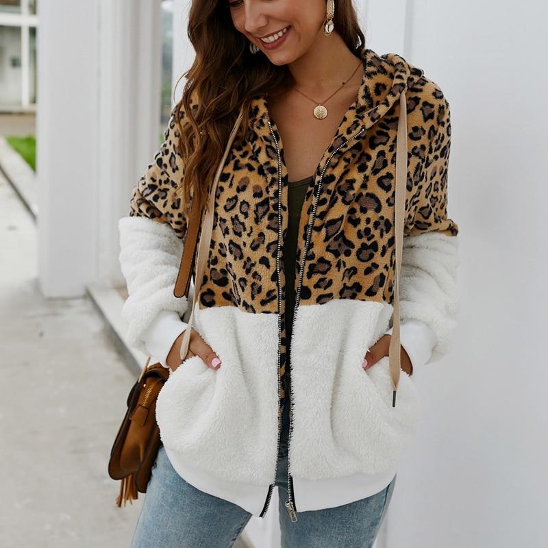 Women Winter Coat Top Long Sleeve Hooded Autumn Warm Jacket Outwear Casual Fashion Leopard Tops Coat Hot Sale Size S-XL
