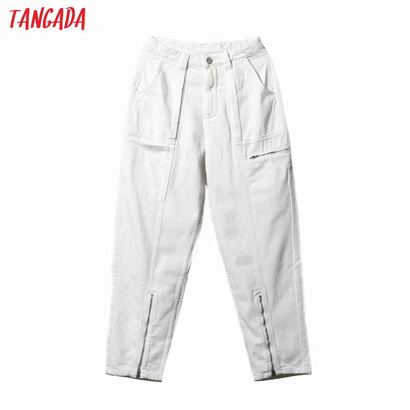 Tangada Women High Waist White Jeans Pockets Zipper Trousers Stylish 2020 Fashion Denim Pants Trousers 4Q30