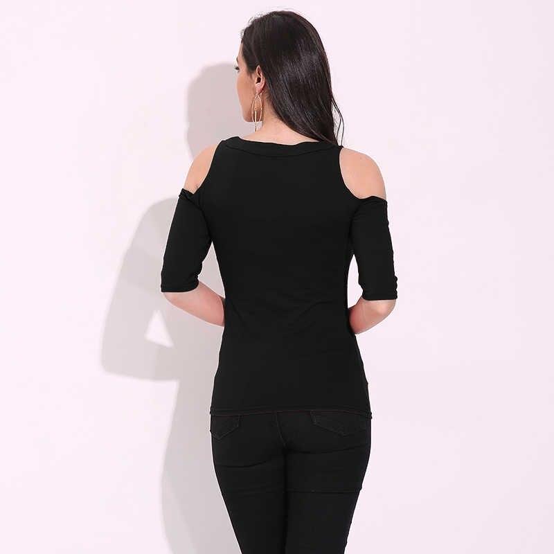 Сексуальные женские топы с открытыми плечами, лето 2019, блузка с v-образным вырезом и рукавом средней длины, на шнуровке, повседневные рубашки размера плюс