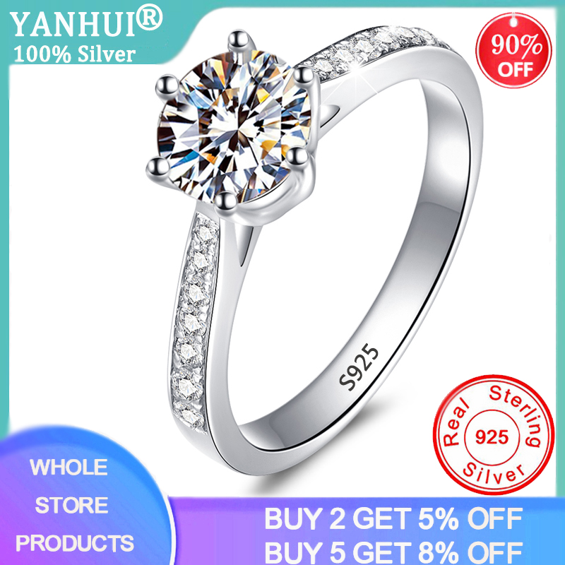 YANHUI Authentic 925 Sterling Silver Rings Round 1 Carat Zirconia Diamond Finger Rings For Women Wedding Original Silver Jewelry