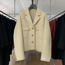 2019 Autumn Loose Single-breasted Suit Collar Large Pocket Double-sided Cashmere Short Coat Cashmere Fashion Full Coat Women autumn cashmere шаль