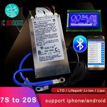 Inteligente 7s ant 20s ant lifepo4 li ion lipo lto bateria placa de proteção bms 400a 300a 100a 80a bluetooth app 10s 13s 14s 16s equilíbrio
