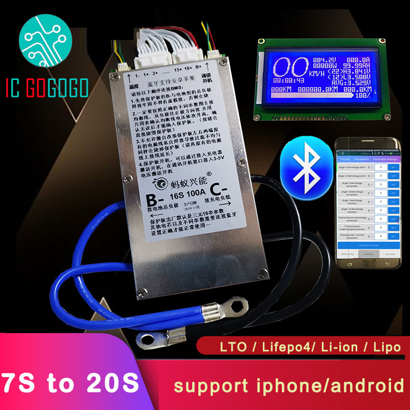 Smart 7S ~ 20S ANT Lifepo4 li ion Lipo LTO Battery Protection Board BMS 400A 300A 100A 80A Bluetooth APP 10S 13S 14S 16S Balance Battery Accessories     - title=