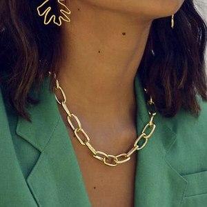 Punk Boho Cuban Metal Chain Necklaces Link Steampunk Rock Big large size Choker Necklace Women Clavicle chain Minimalist Jewelry