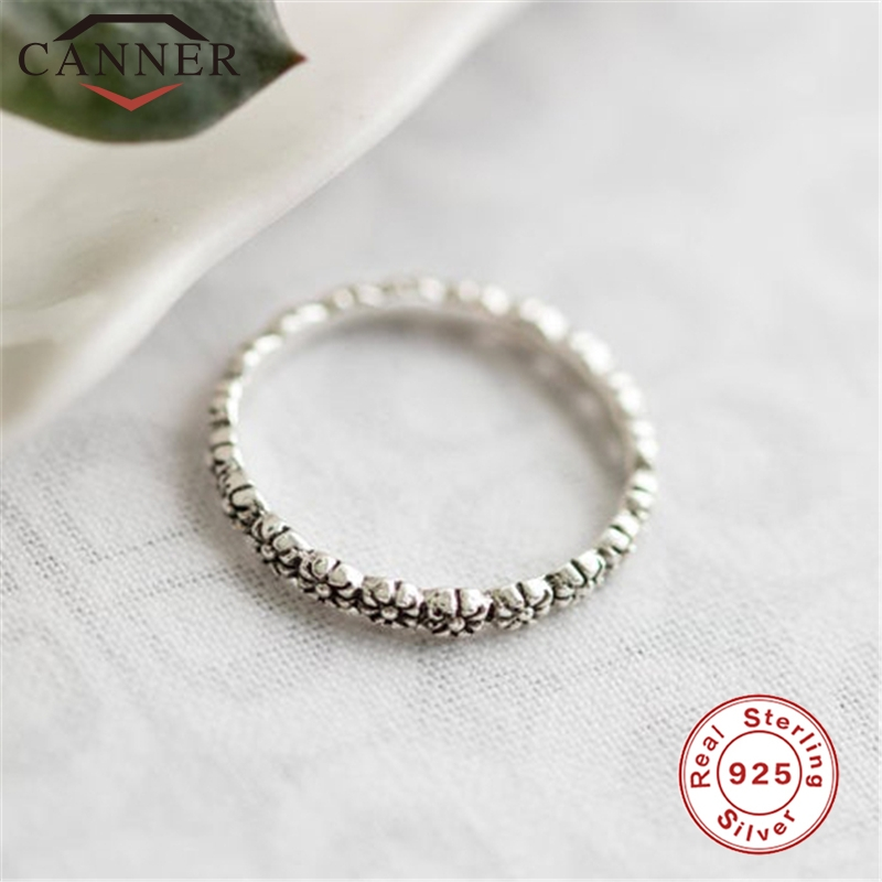 2019 European American Design 100% Real 925 Silver Rings For Women Simple Personality Vintage Flower Ladies Ring Retro Jewelry