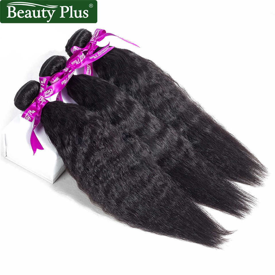 BP Kinky Steil Haar Bundels Met Sluiting Yaki Human Hair Weave 3 Bundels met Sluiting Remy Zwart Haar Bundels met sluiting